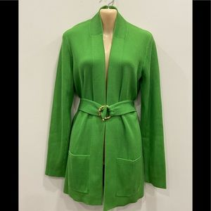 Per Se Green Cardigan with Gold Bamboo Belt